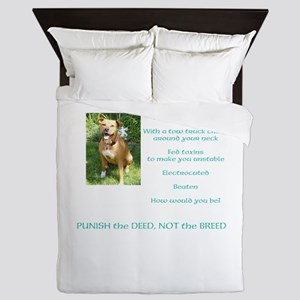 Bull Breed Education Aqua Print Queen Duvet