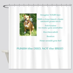 Bull Breed Education Aqua Print Shower Curtain