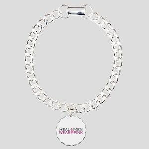 Real Men Wear Pink Charm Bracelet, One Charm