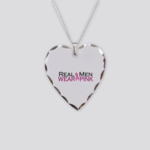 Real Men Wear Pink Necklace Heart Charm