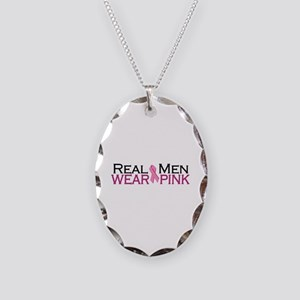 Real Men Wear Pink Necklace Oval Charm
