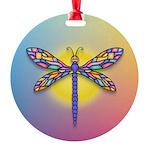 Dragonfly1-Sun-gr1 Round Ornament