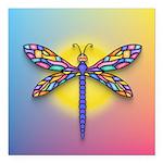 Dragonfly1-Sun-gr1 Square Car Magnet 3