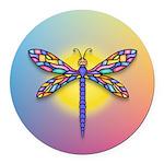Dragonfly1-Sun-gr1 Round Car Magnet
