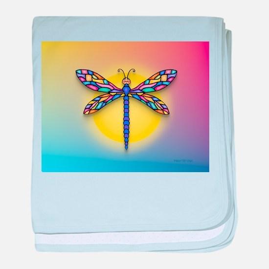 Dragonfly1-Sun-gr1 baby blanket