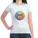 Dragonfly1-Sun-gr1 Jr. Ringer T-Shirt