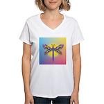 Dragonfly1-Sun-gr1 Women's V-Neck T-Shirt