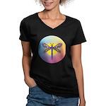 Dragonfly1-Sun-gr1 Women's V-Neck Dark T-Shirt