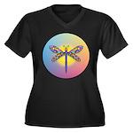 Dragonfly1-Sun-gr1 Women's Plus Size V-Neck Dark T