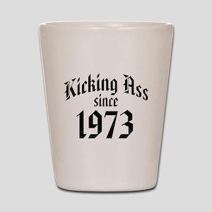 Kicking Ass Since 1973 Shot Glass