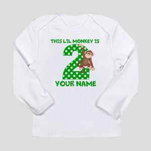 2nd Birthday Boy Monkey Long Sleeve Infant T-Shirt