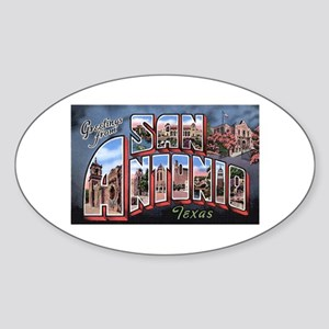San Antonio Texas Greetings Oval Sticker