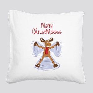 christmoose_card Square Canvas Pillow