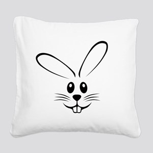 bunny_face_b Square Canvas Pillow