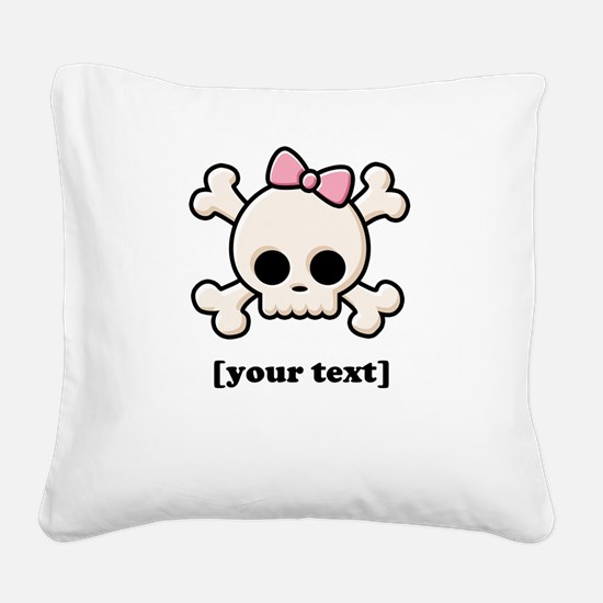 [Your text] Cute Skull Girl Square Canvas Pillow