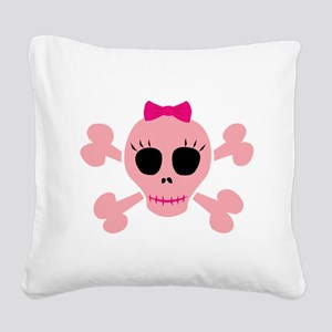 Funny Pink Skull Square Canvas Pillow