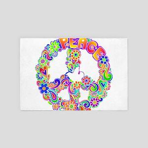 Flower power Hippie Design 4' x 6' Rug