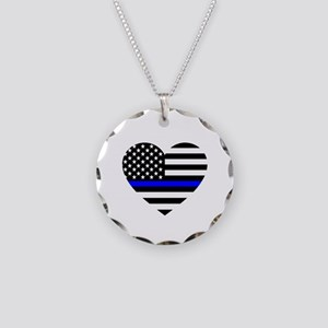Thin Blue Line Love Necklace Circle Charm