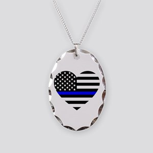 Thin Blue Line Love Necklace Oval Charm
