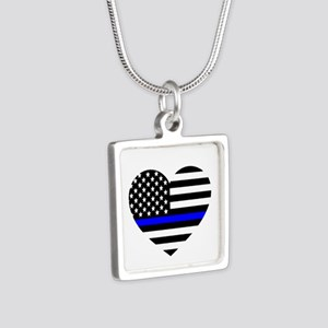Thin Blue Line Love Silver Square Necklace
