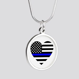 Thin Blue Line Love Silver Round Necklace