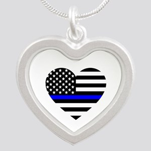 Thin Blue Line Love Silver Heart Necklace