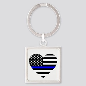 Thin Blue Line Love Square Keychain