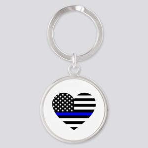 Thin Blue Line Love Round Keychain