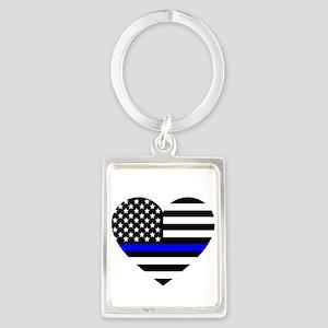 Thin Blue Line Love Portrait Keychain