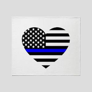 Thin Blue Line Love Throw Blanket