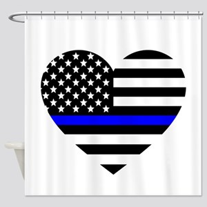 Thin Blue Line Love Shower Curtain