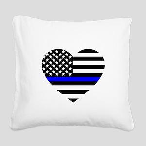 Thin Blue Line Love Square Canvas Pillow