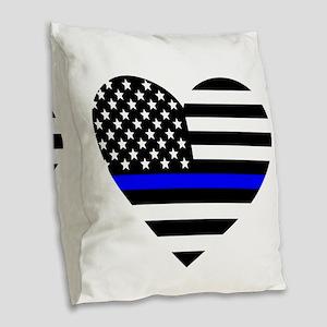 Thin Blue Line Love Burlap Throw Pillow