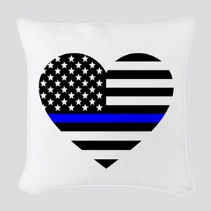 Thin Blue Line Love Woven Throw Pillow