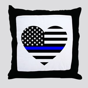 Thin Blue Line Love Throw Pillow