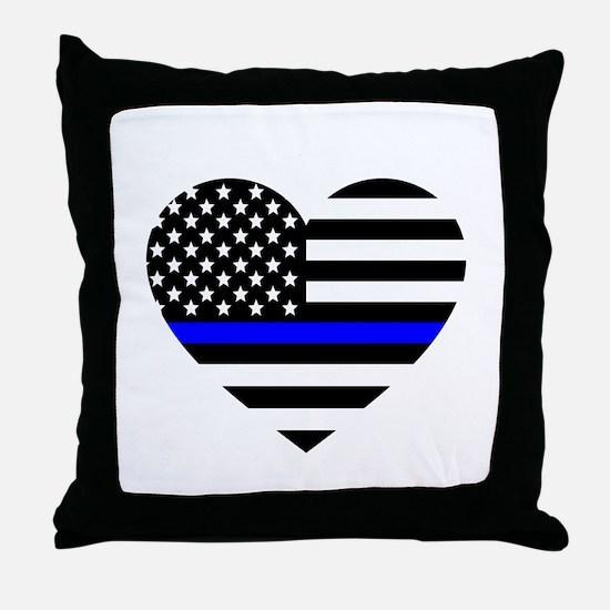 Thin Blue Line Love Throw Pillow