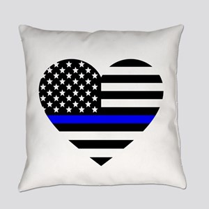 Thin Blue Line Love Everyday Pillow