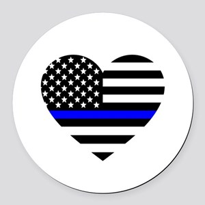 Thin Blue Line Love Round Car Magnet