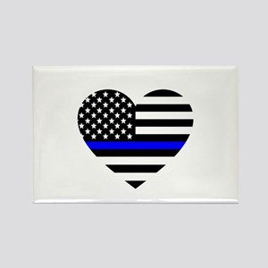 Thin Blue Line Love Rectangle Magnet