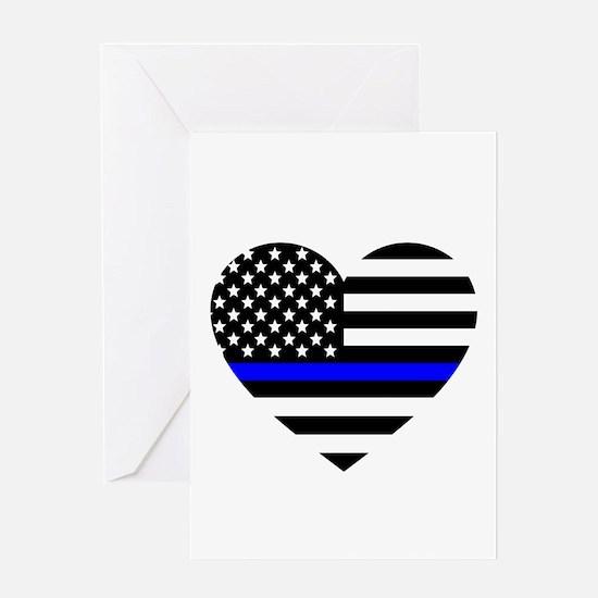 Thin Blue Line Love Greeting Card