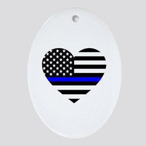 Thin Blue Line Love Oval Ornament