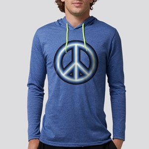 Blue Peace Symbol Mens Hooded Shirt