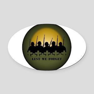 Lest We Forget War Memorial Oval Car Magnet