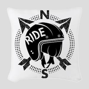 Retro Motorbike Helmet Woven Throw Pillow
