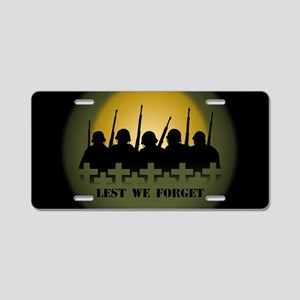 Lest We Forget War Memorial Aluminum License Plate
