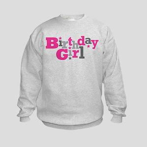 Pink Birthday Girl Star Kids Sweatshirt