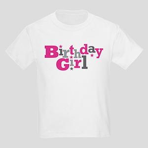 Pink Birthday Girl Star Kids Light T-Shirt