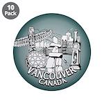 """Vancouver Inukshuk Souvenir 3.5"""" Button (10 pack)"""