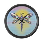 Pastel Dragonfly Large Wall Clock