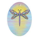 Pastel Dragonfly Ornament (Oval)